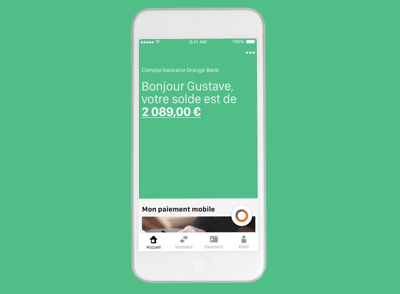 L'écran d'accueil de l'application Orange Bank.