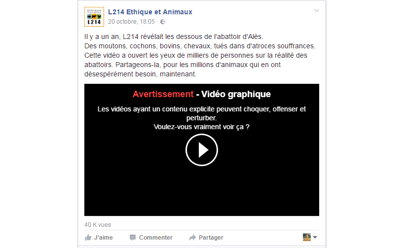 Exemple de message d'avertissement de Facebook