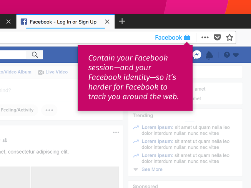 L'extension Facebook Container pour Firefox.