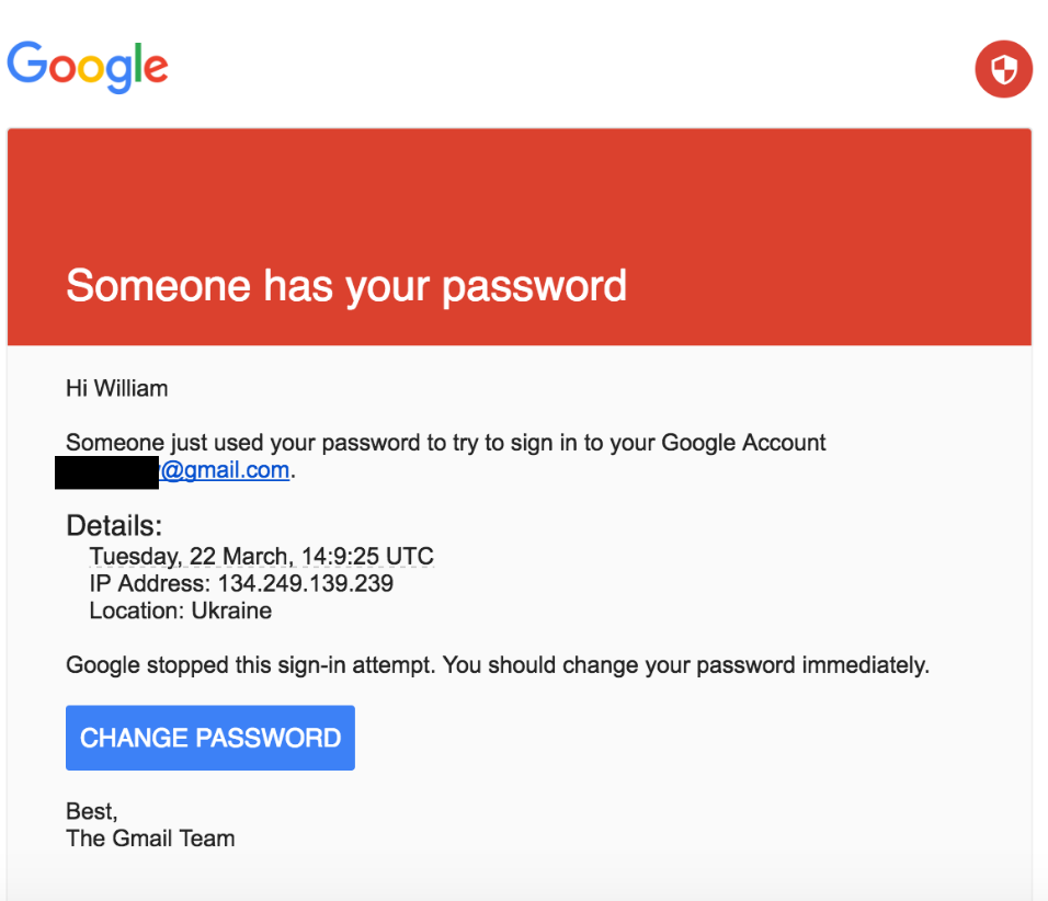 Mail de phishing reprenant les codes de Google